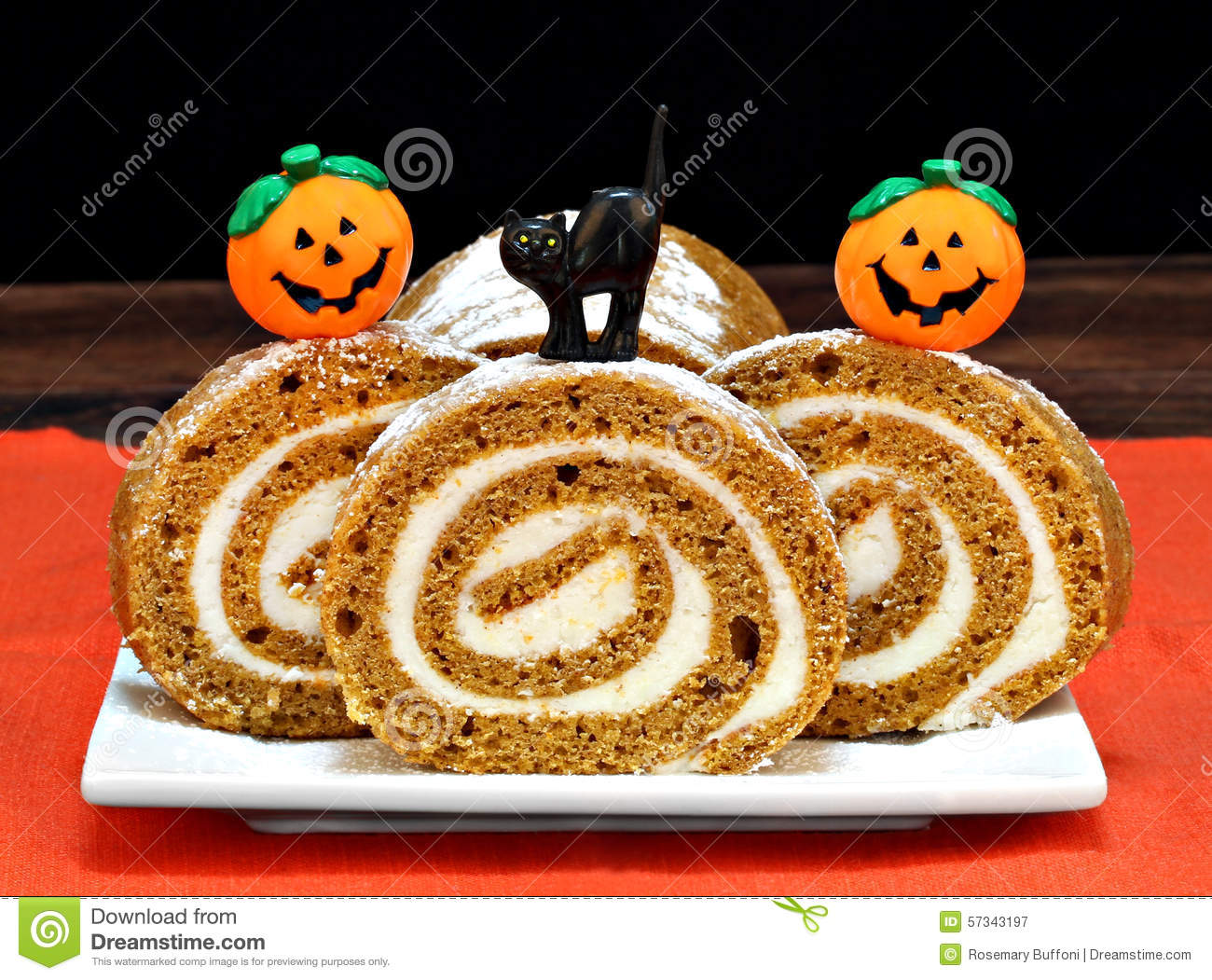 Halloween Decorated Cake Roll : Pumpkin Roll Cake Decorated For Halloween Stock Image ...