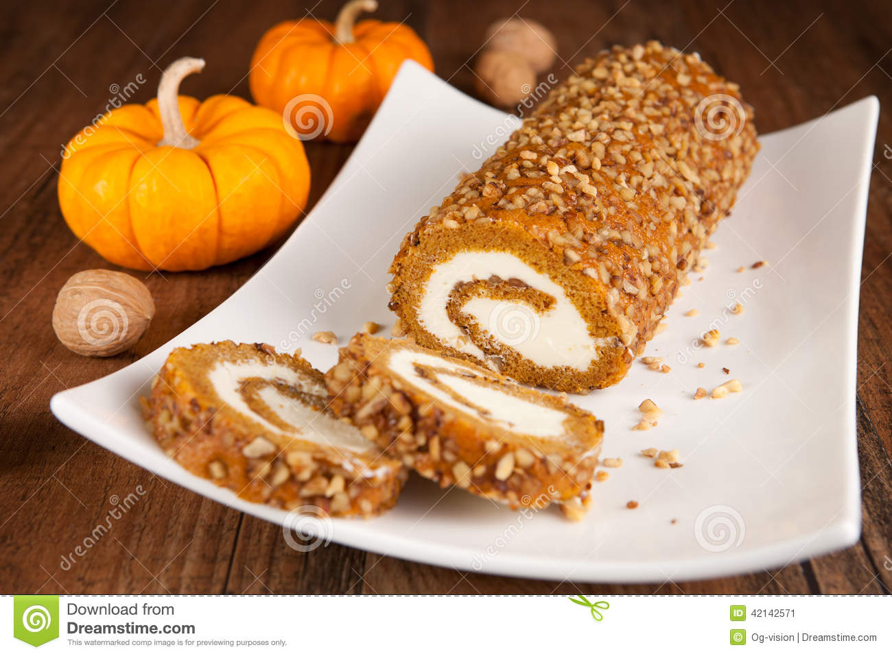 Halloween Decorated Cake Roll : Pumpkin Roll Cake Decorated For Halloween Royalty-Free ...