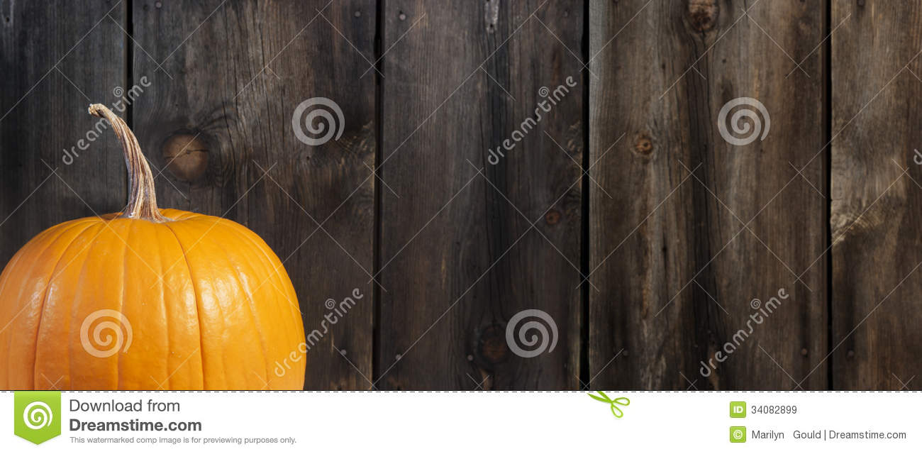 Pumpkin With Rustic Wood Background Royalty Free Stock Images