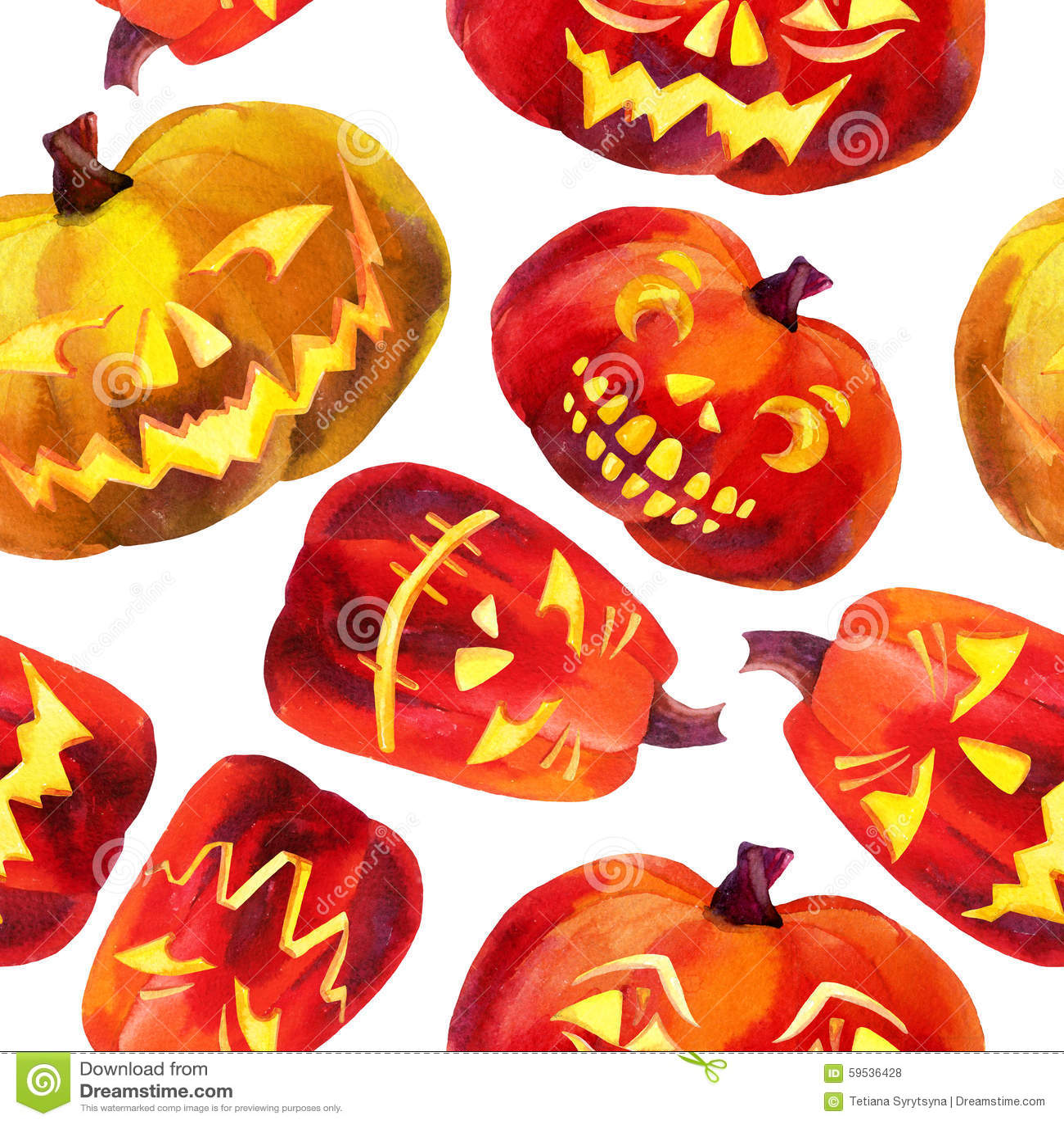 Pumpkin seamless pattern stock illustration image