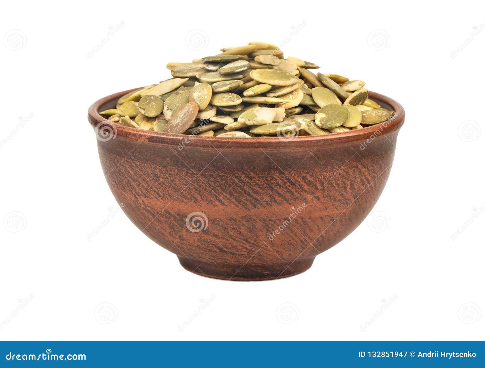 Pumpkin seed kernels in bowl