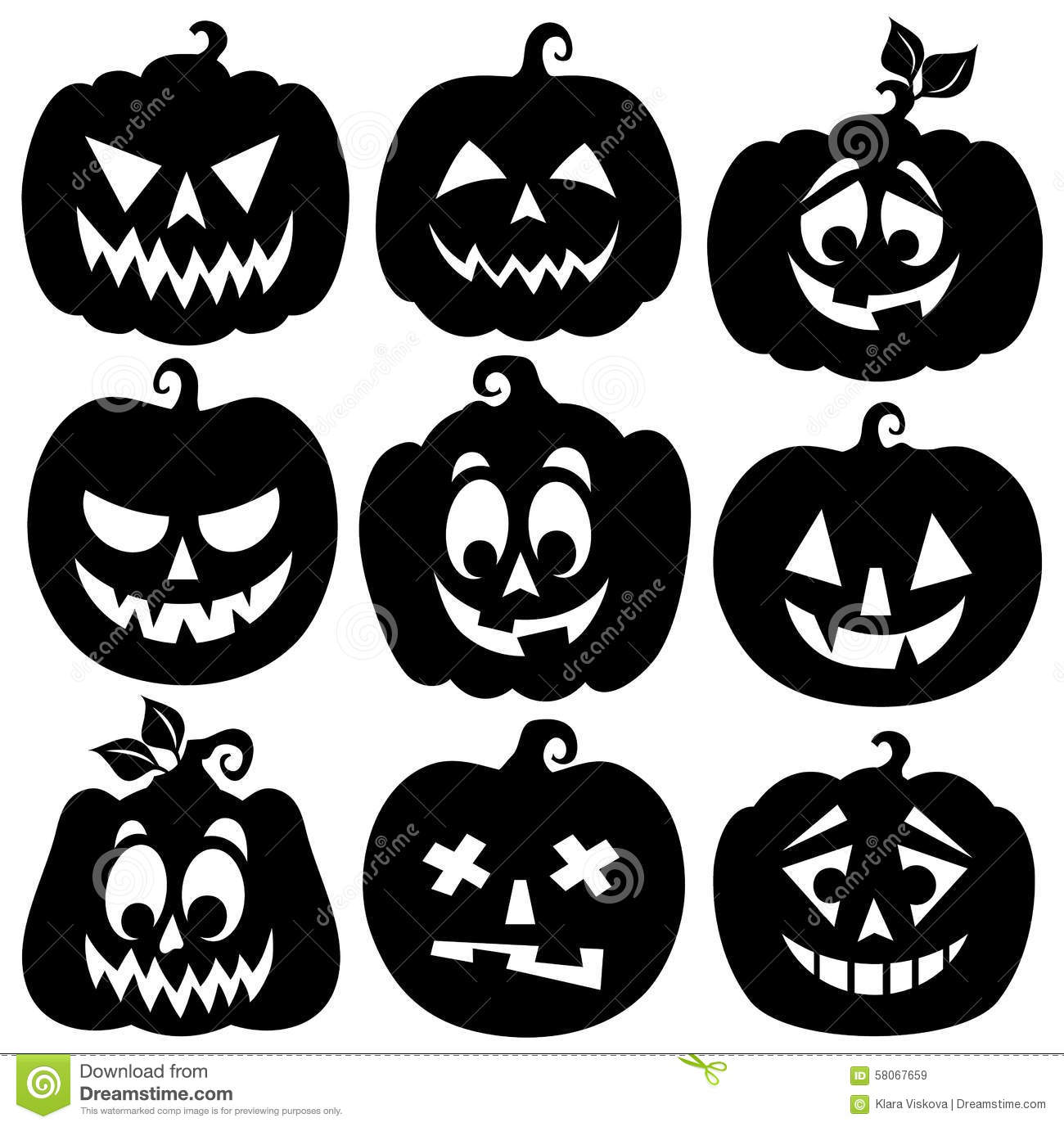 pumpkin silhouettes theme set 1 stock vector image 58067659