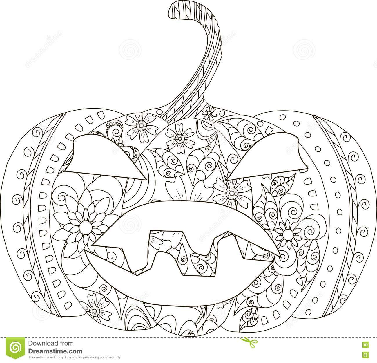 pumpkin sketch halloween thin line black ornament white coloring page anti stress vector illustration