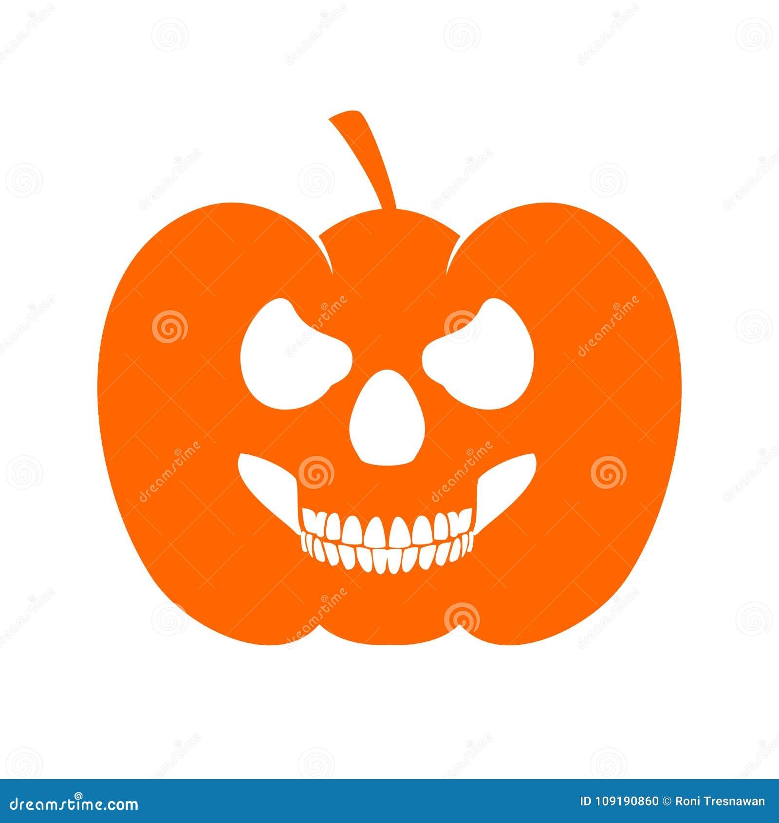 Pumpkin Skull Profile Evil Jack O Lantern Stock Vector