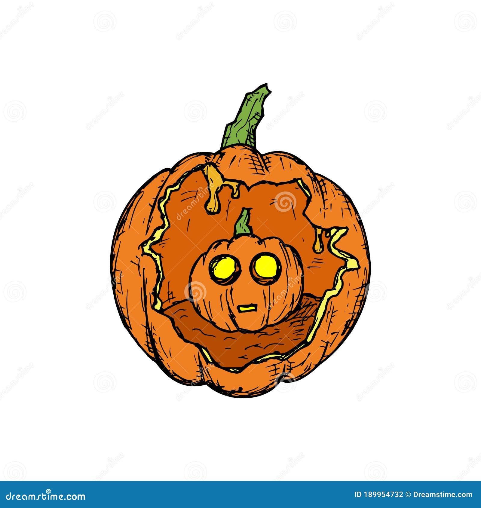 Pumpkin With A Small Halloween Pumpkin Inside Jack O Lantern Stock Vector Illustration Of Evil Horror 189954732