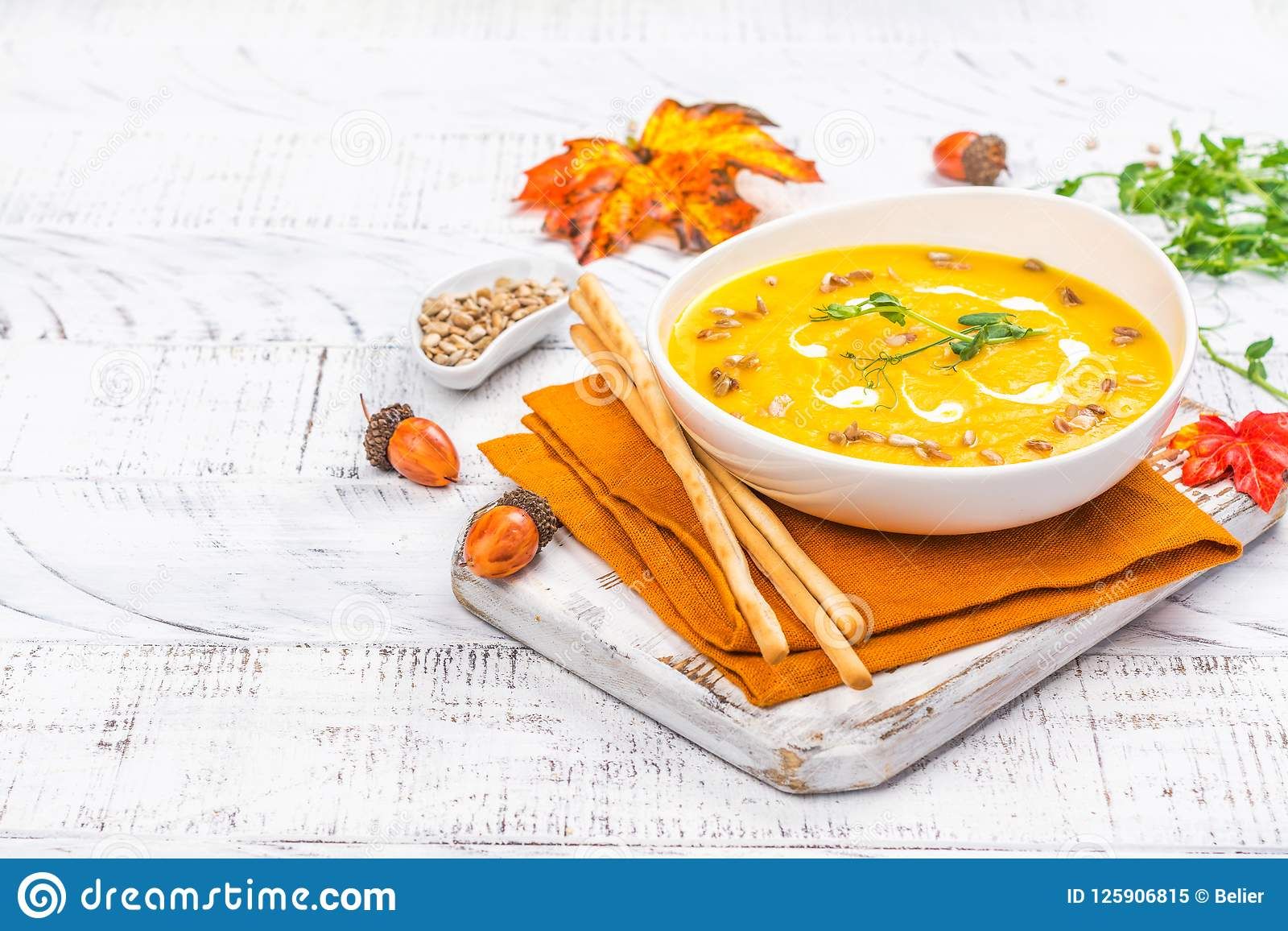 Pumpkin Soup On Autumn Background Stock Image - Image of