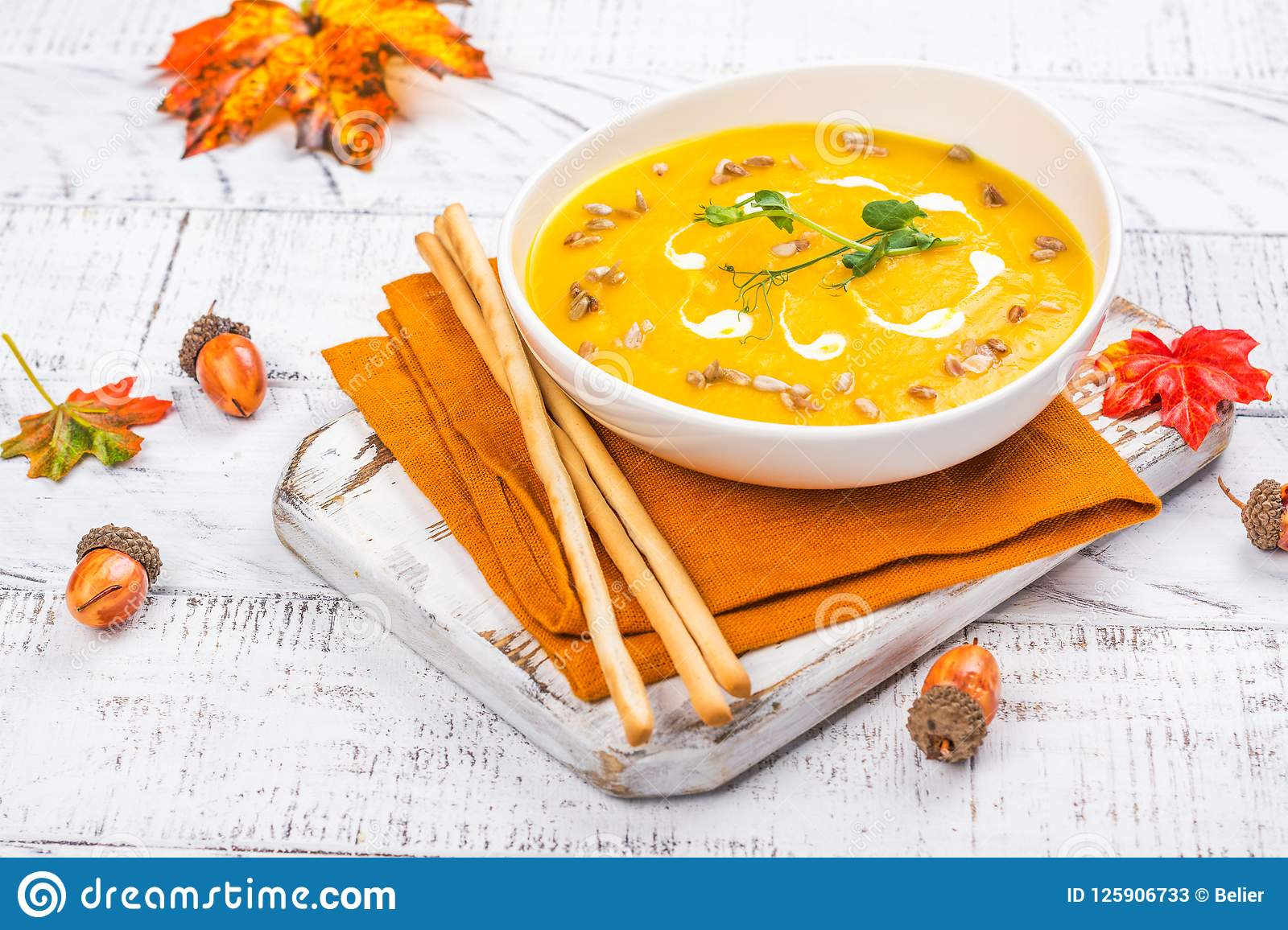 Pumpkin Soup On Autumn Background Stock Image - Image of cream, seed