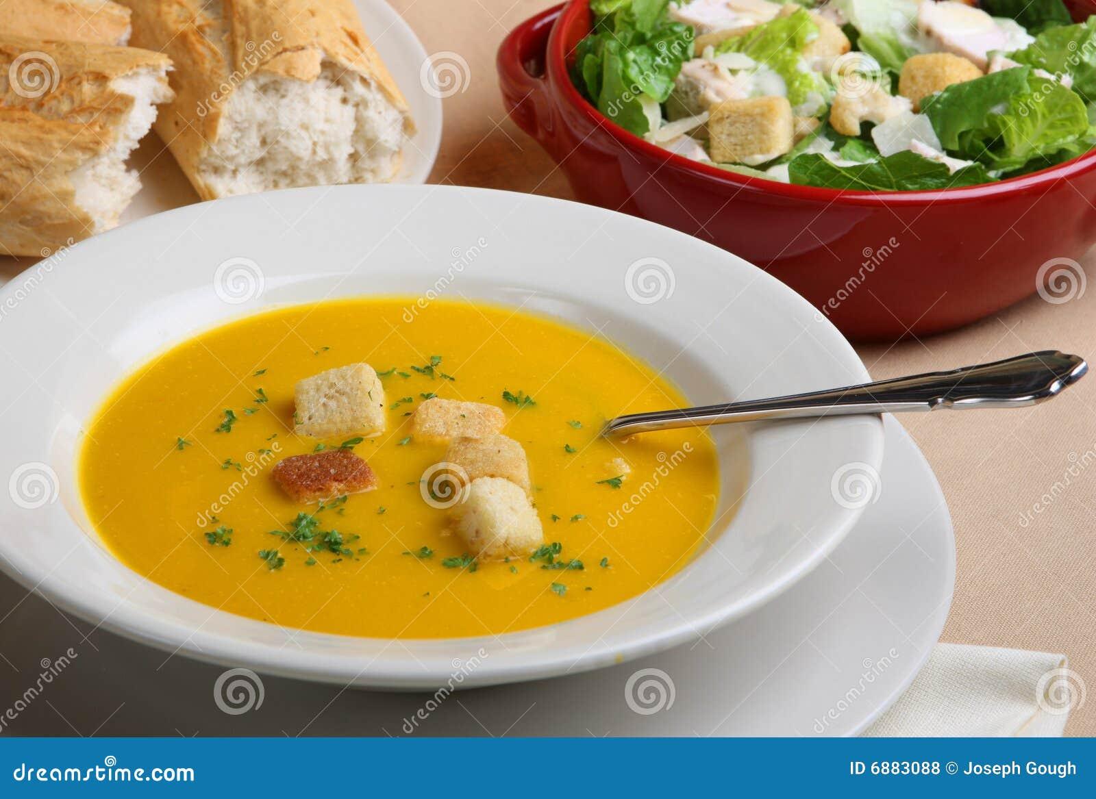 Pumpkin Soup, Salad & Bread