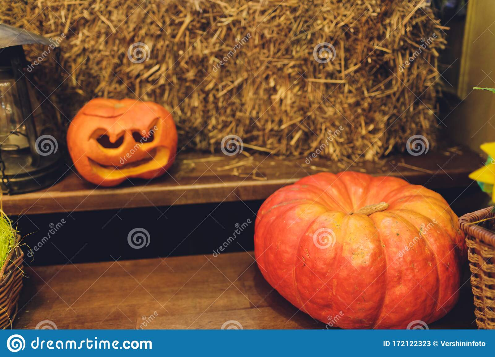 Pumpkin Squash Happy Thanksgiving Day Background Autumn Thanksgiving Pumpkins Over Wooden Background With Garland Stock Image Image Of Festival Farming 172122323