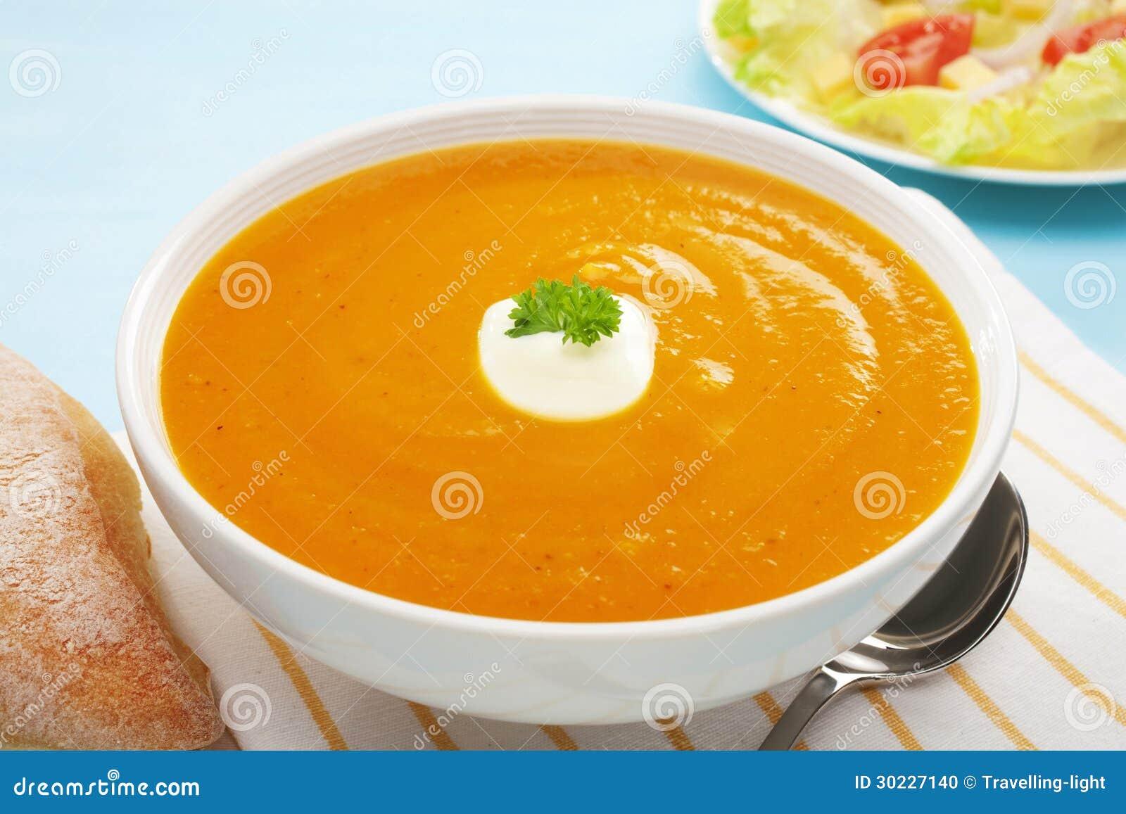 Pumpkin Soup Sweet Potato Carrot Salad Bread Copy Space