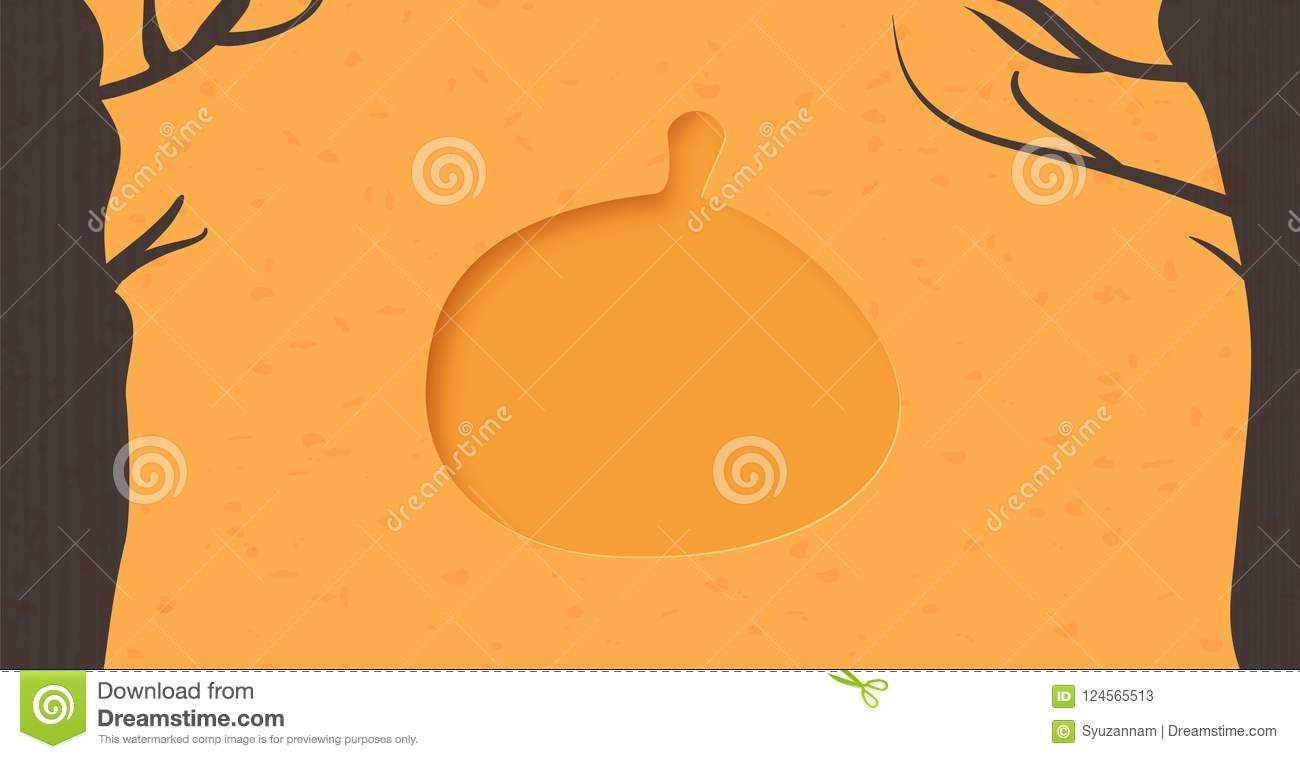 pumpkin template with paper cut shape vector illustration stock
