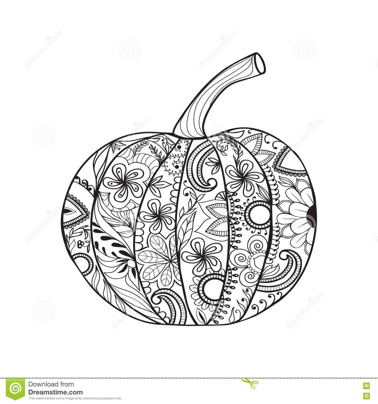 Pumpkin for thanksgiving day halloween stock vector for Pumpkin coloring pages for adults