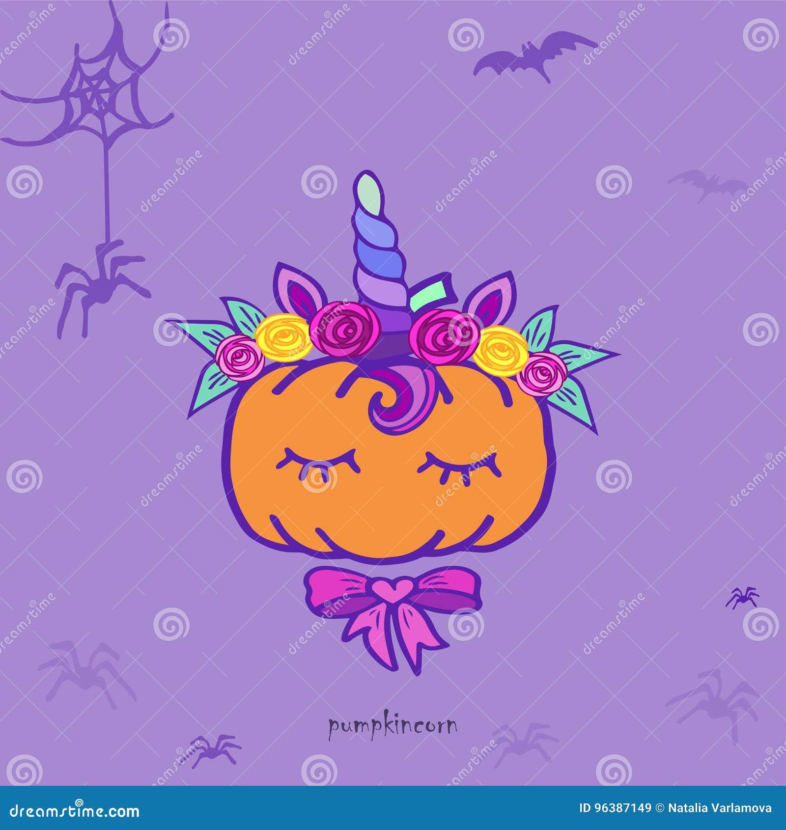 pumpkin unicorn funny halloween card stock vector illustration
