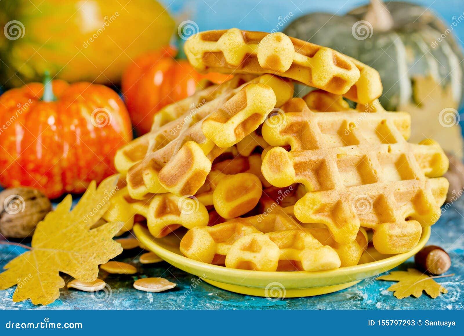 Pumpkin waffles, homemade sweet belgian waffles with pumpkin puree
