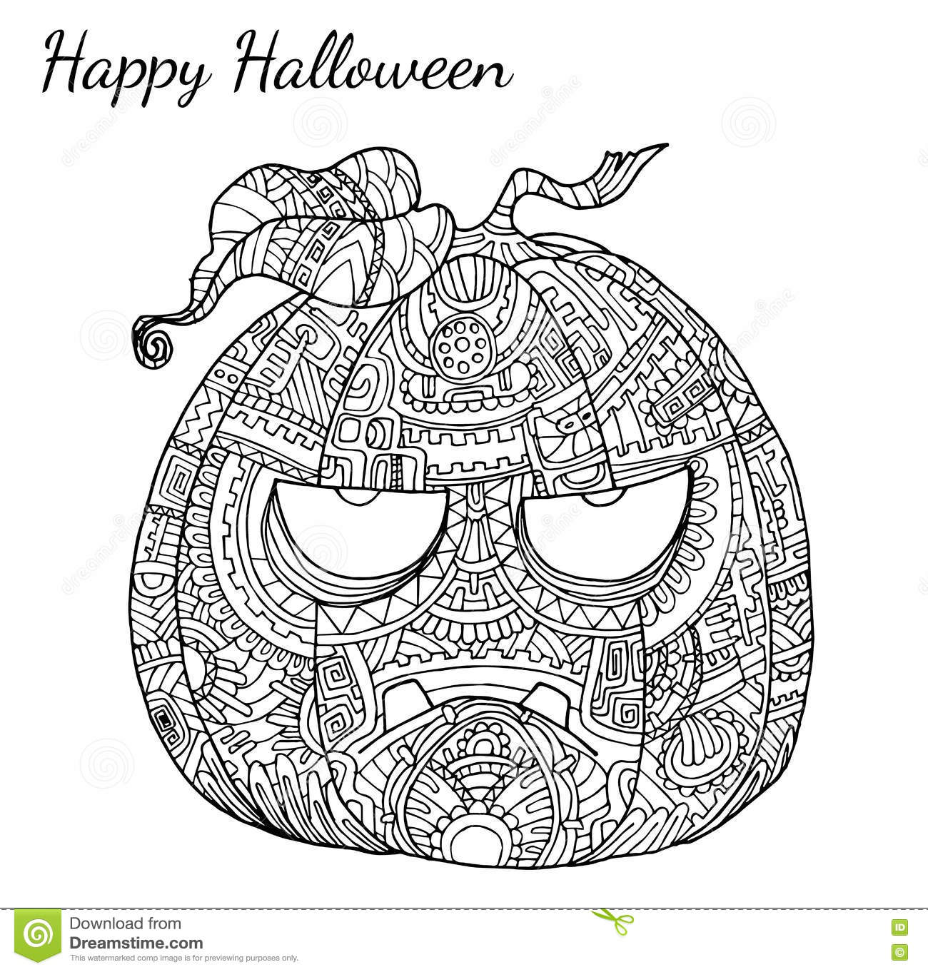 Pumpkin zentangle vector in halloween stock vector for Pumpkin coloring pages for adults