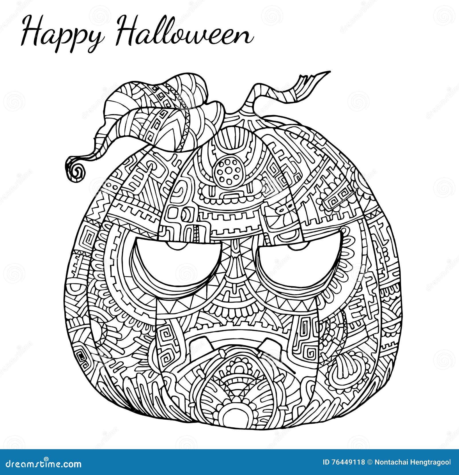 Pumpkin Zentangle Vector In Halloween Stock Vector Illustration Of Happy Thanksgiving 76449118