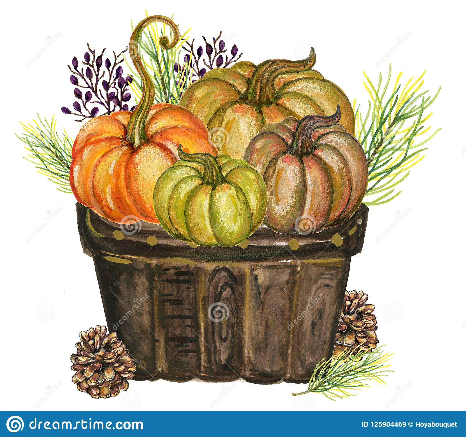 Pumpkins and colorful leaves Watercolor gouache Autumn Fall Hand