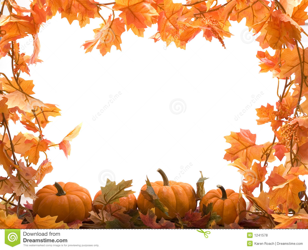 Pumpkins With Fall Leaves Stock Photo. Image Of Festive