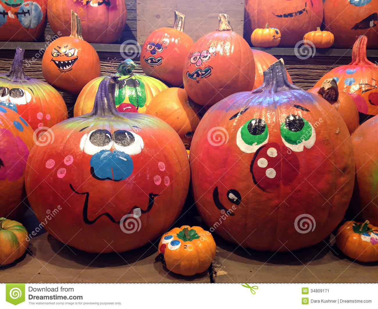 Pumpkins Painted For Halloween Stock Image Image 34809171