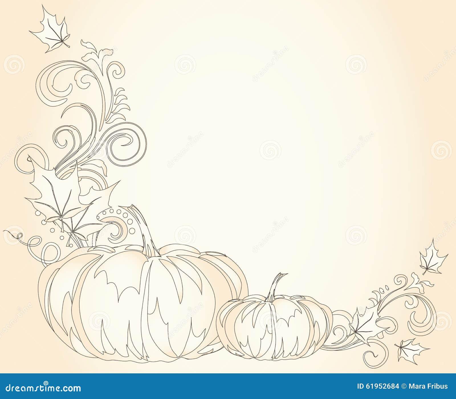 Pumpkins Thanksgiving Border Stock Vector