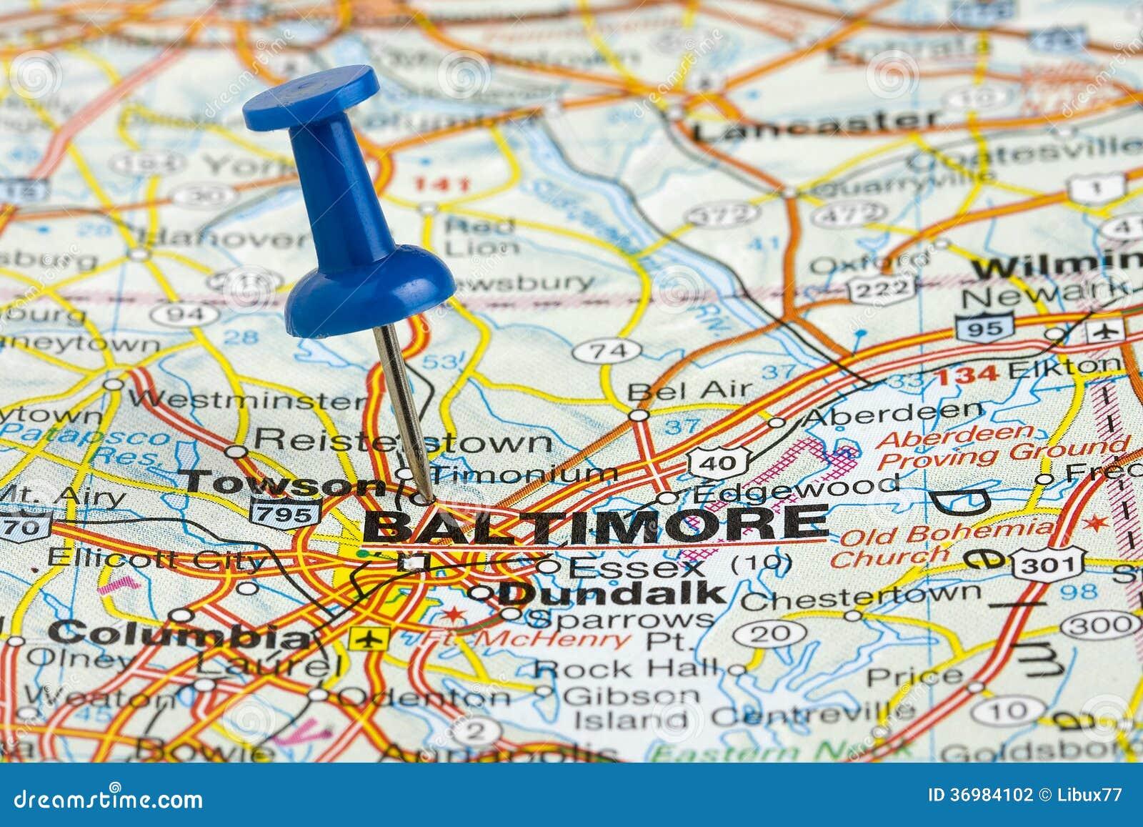 Punaise Dans La Carte De Baltimore Le Maryland Etats Unis Photo