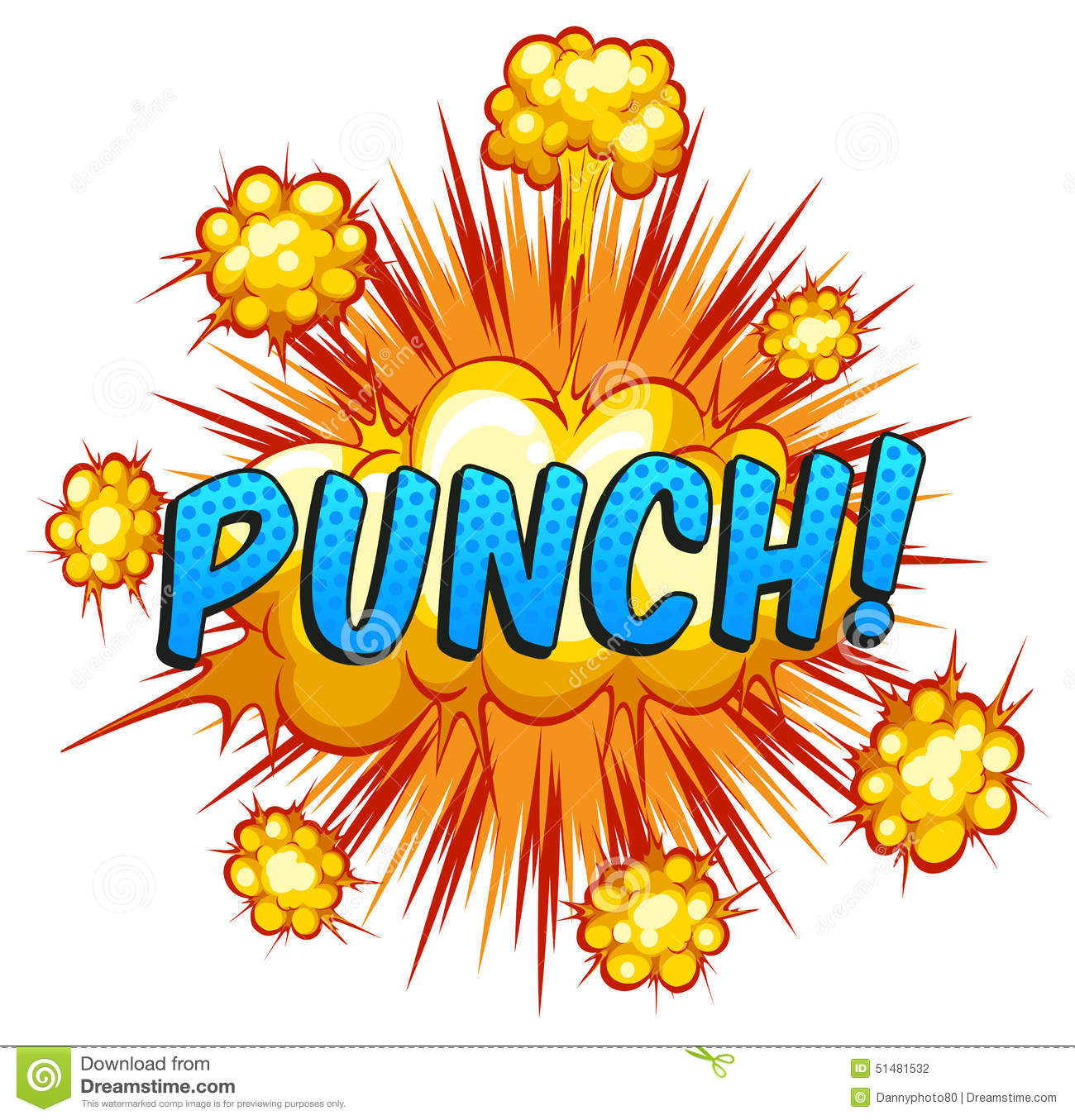 Word 'punch' with cloud explosion background.