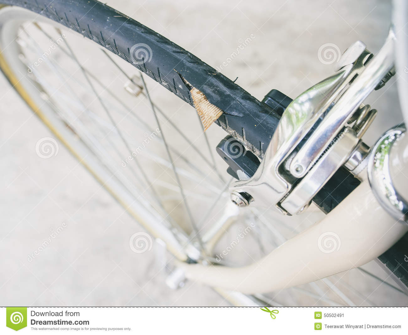 Punctured bicycle tire inner tube