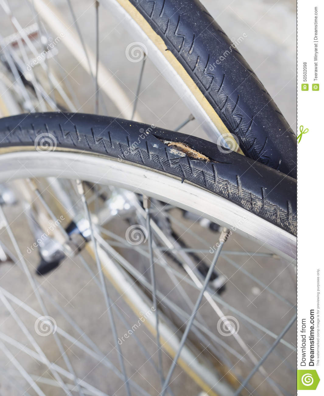 Punctured tire Bicycle wheel parts service