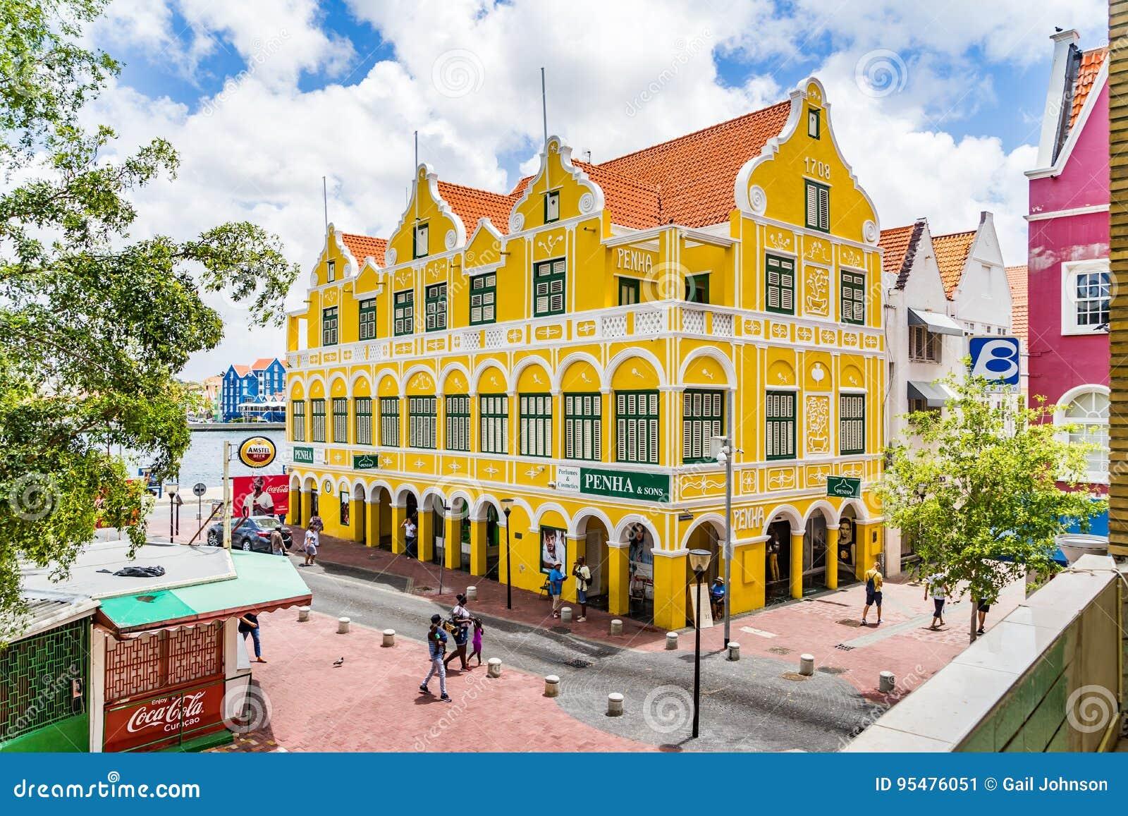 Punda i sławny Penha Buduje Curacao widoki