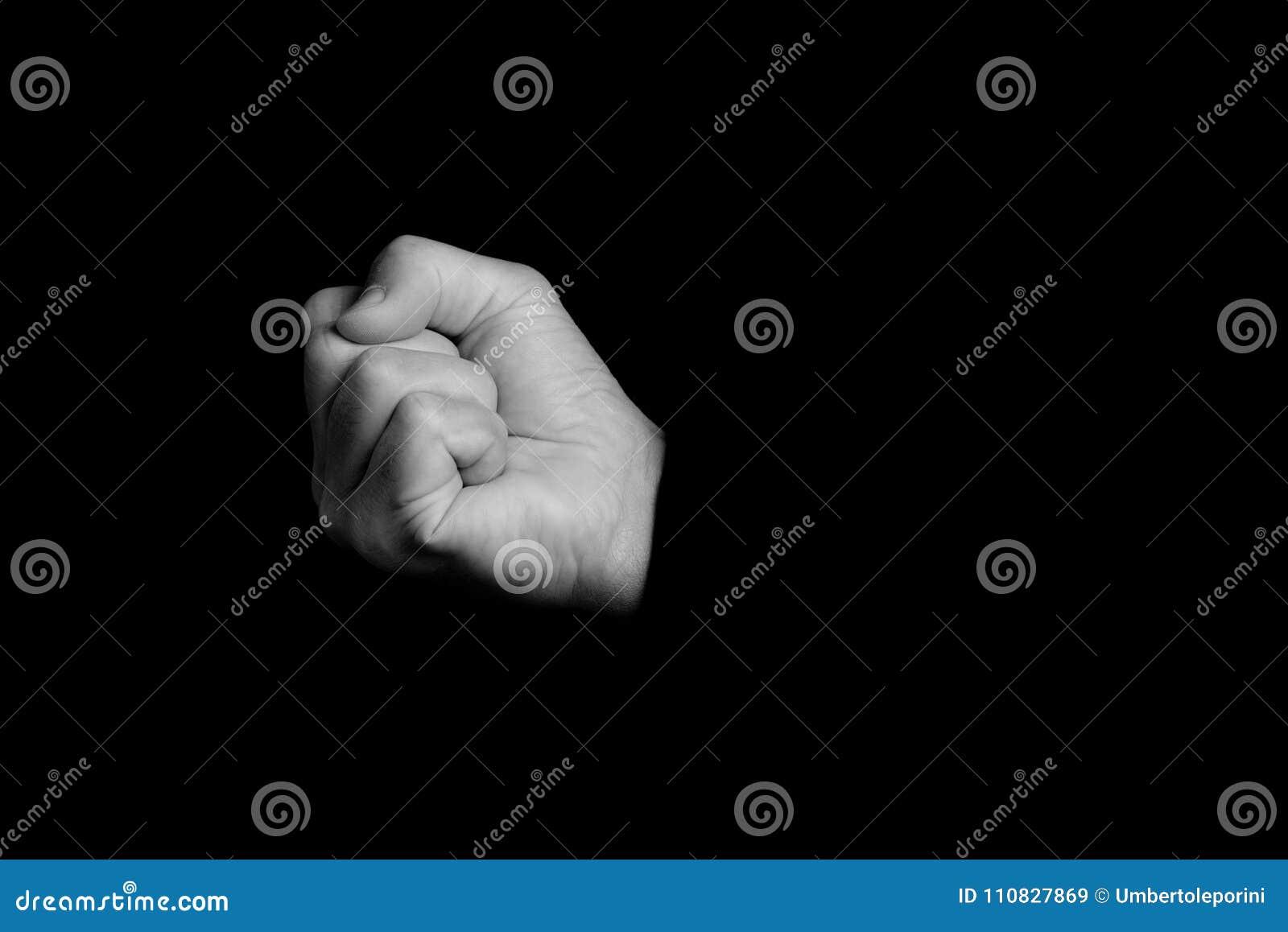 Punho - gestos de mão em um fundo preto