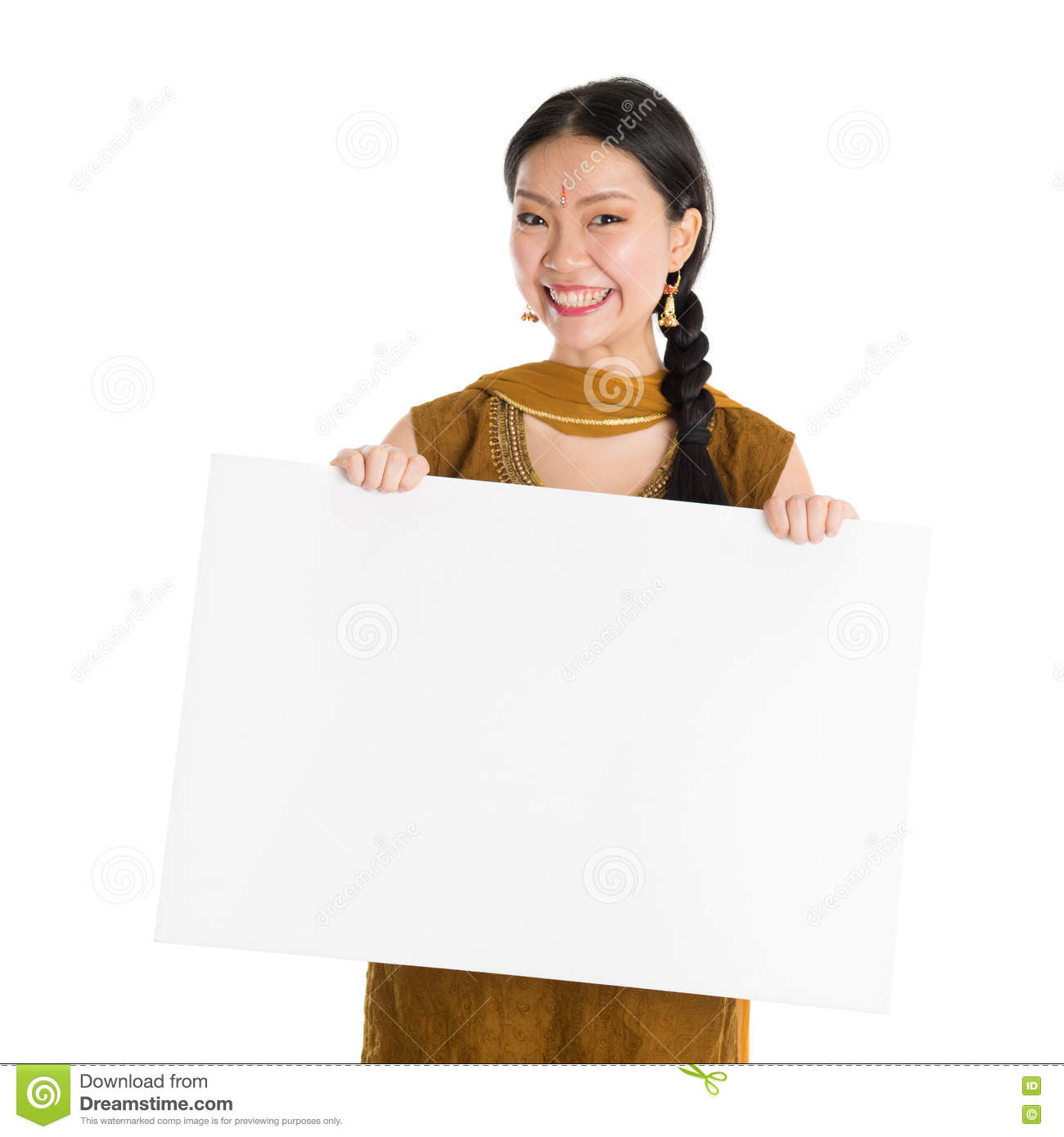 217985a65 Punjabi girl holding blank white paper card. Portrait of young mixed race  Indian Chinese female