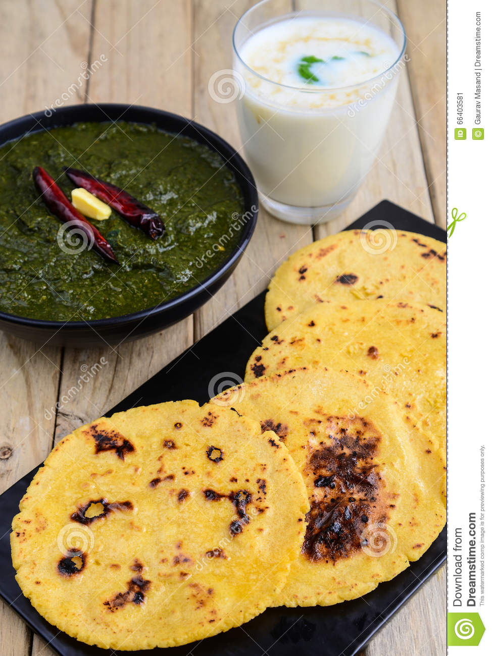 punjabi meal sarso saag greens served with indian maize