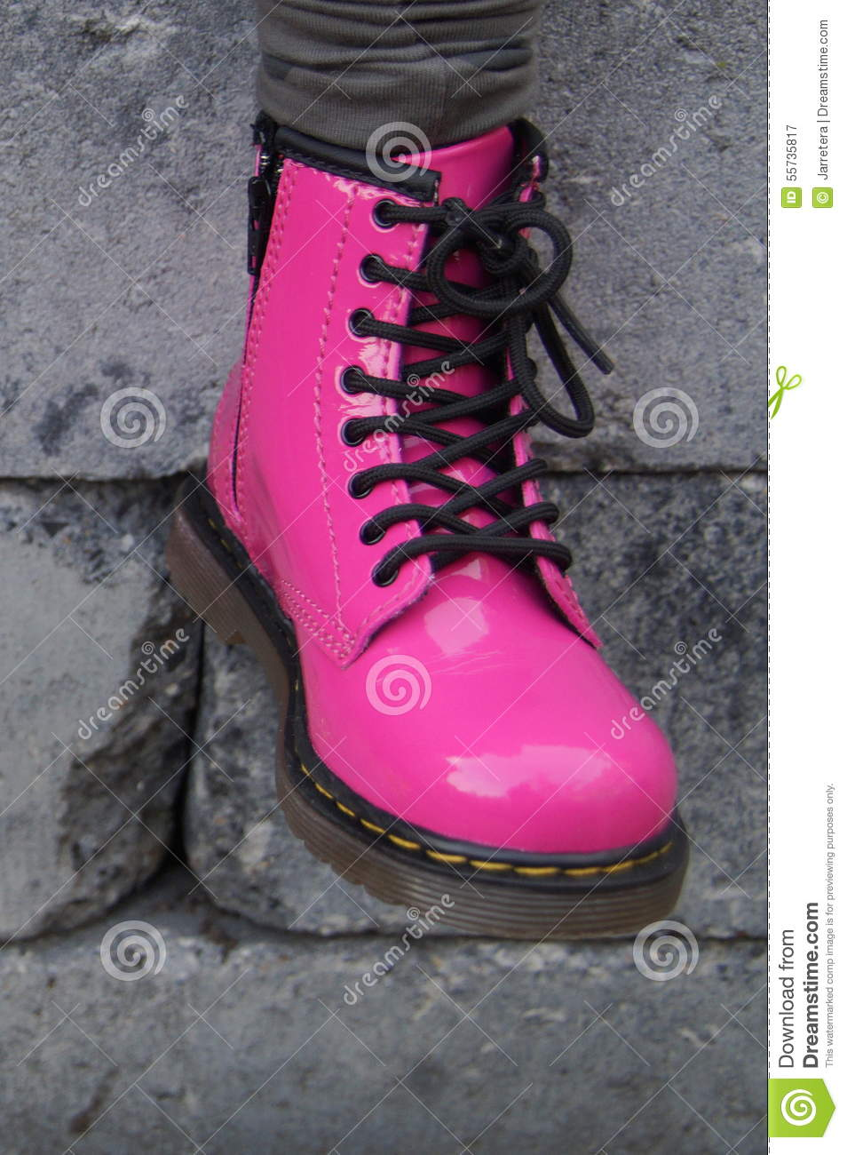Punk Alternative Girl Or Woman Boots Pink Shoes Stock