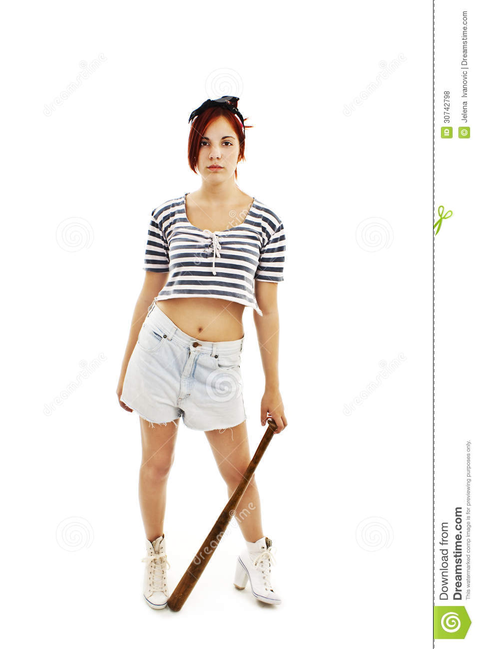Punk Girl With A Bat Royalty Free Stock Photos - Image: 30742798