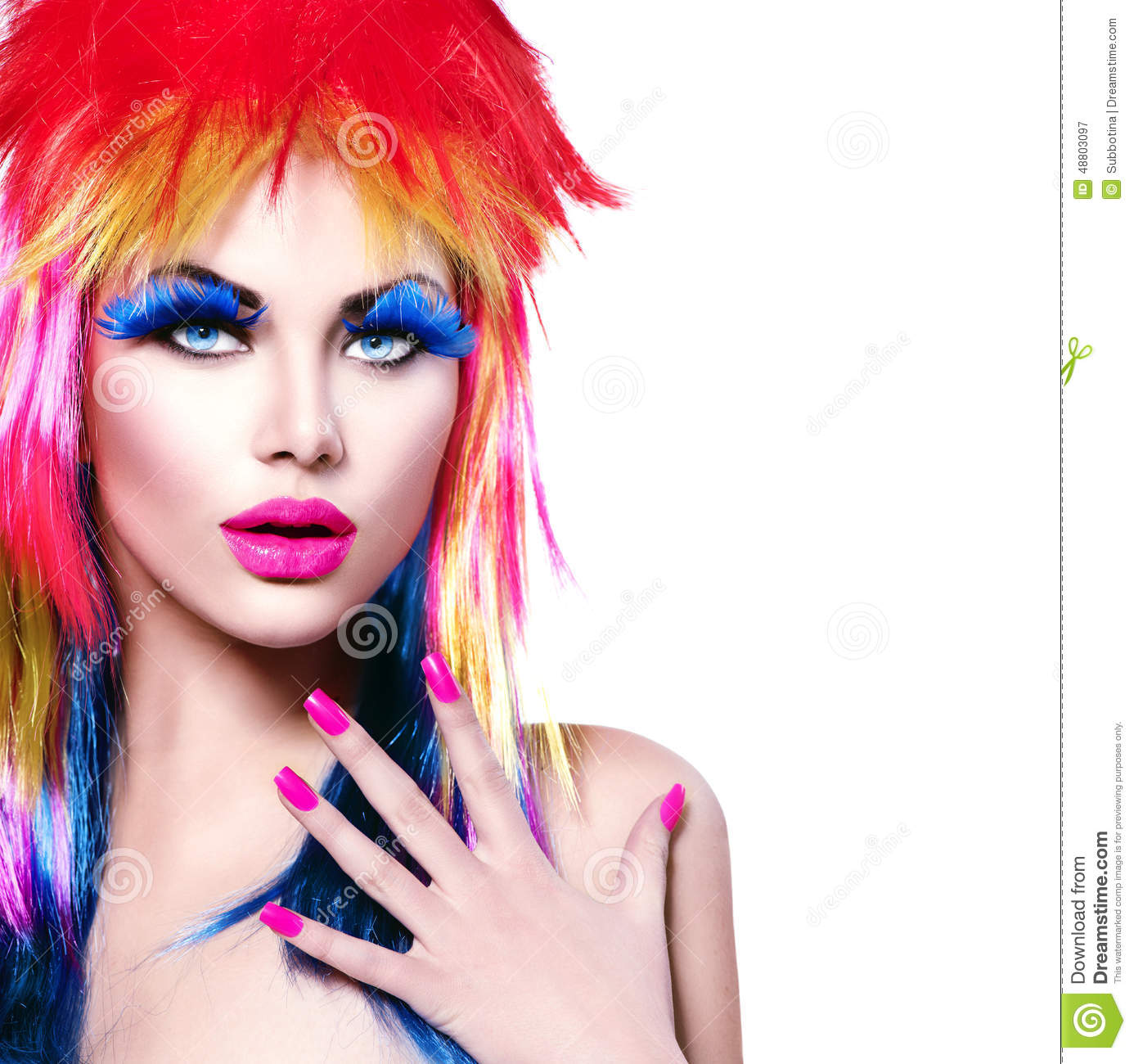 Punk model girl with colorful dyed hair