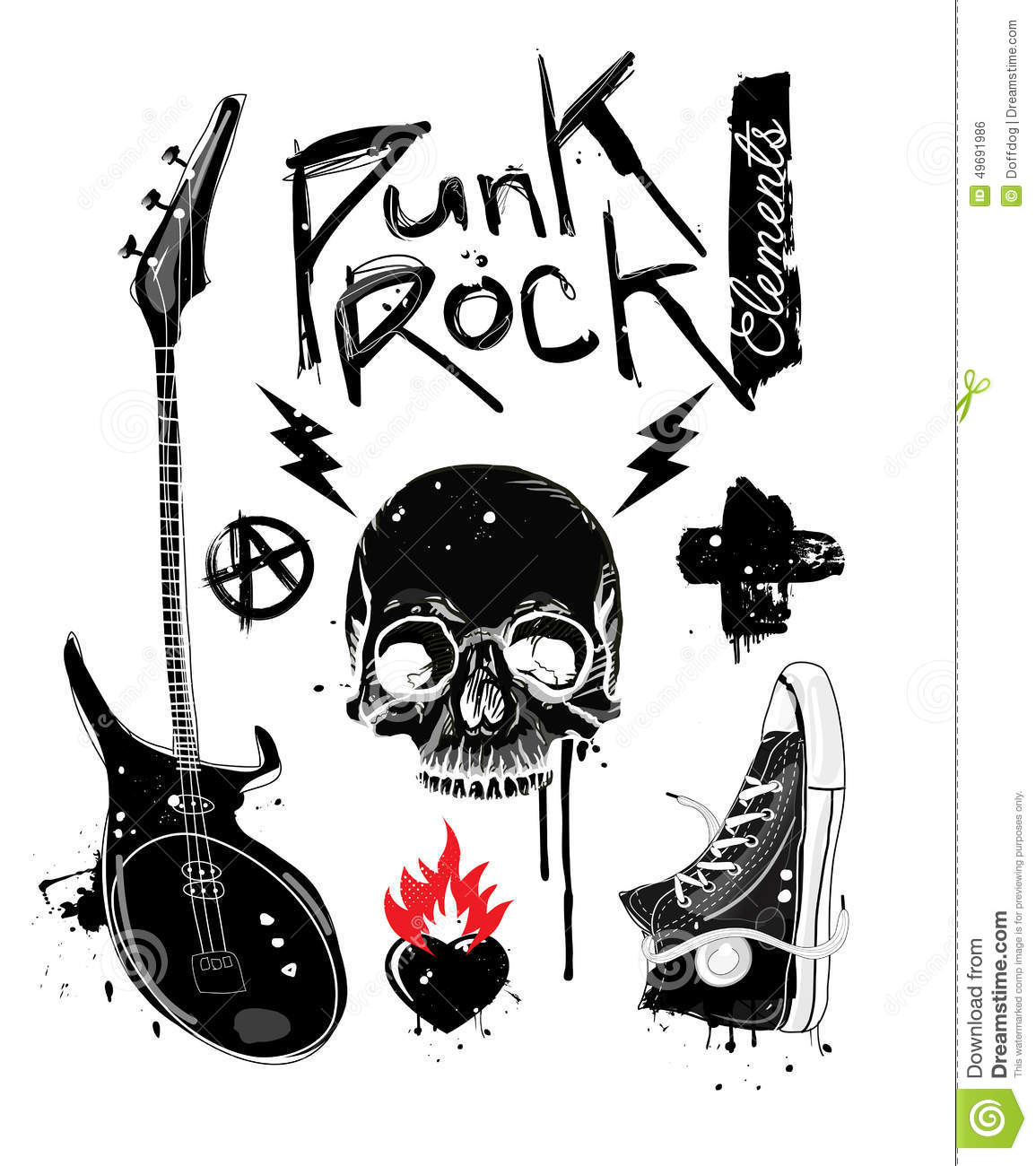 Punk Rock Elements Stock Vector - Image: 49691986