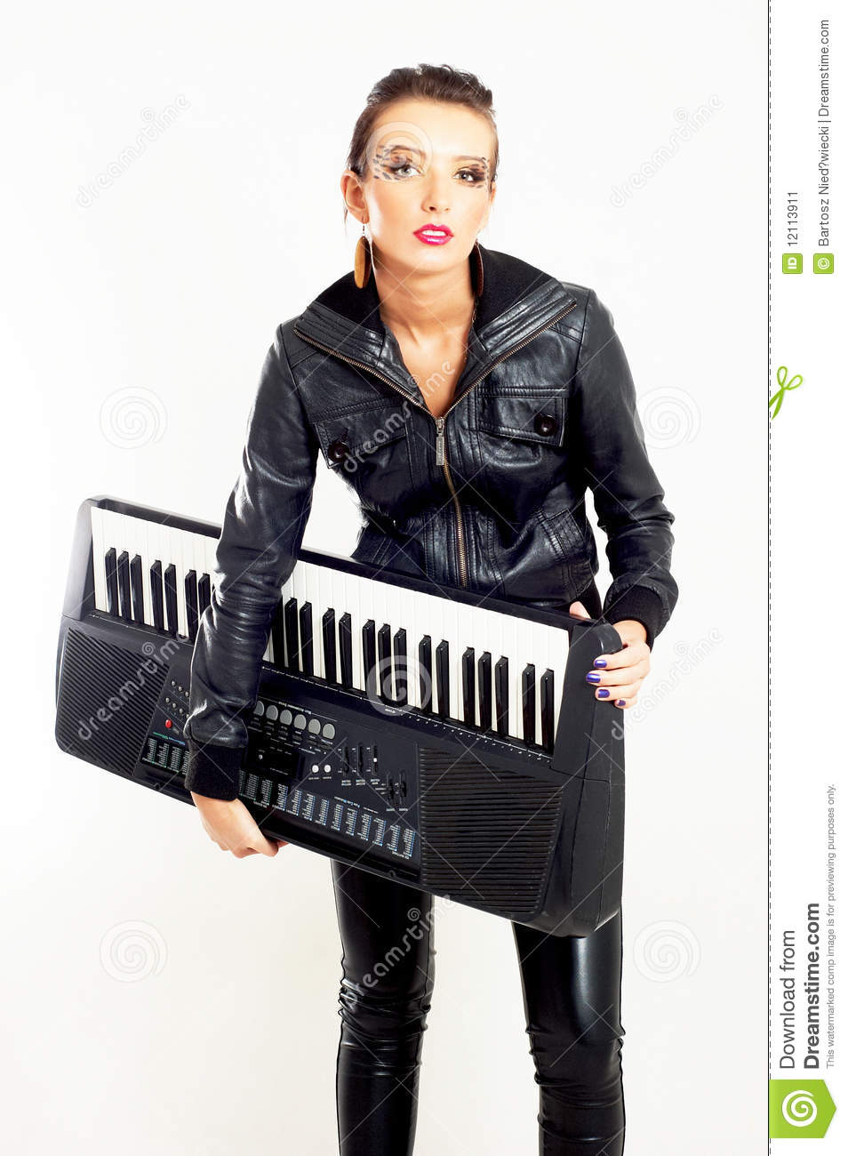 Punk Rock Fashion Girl With A Piano Stock Image Image 12113911