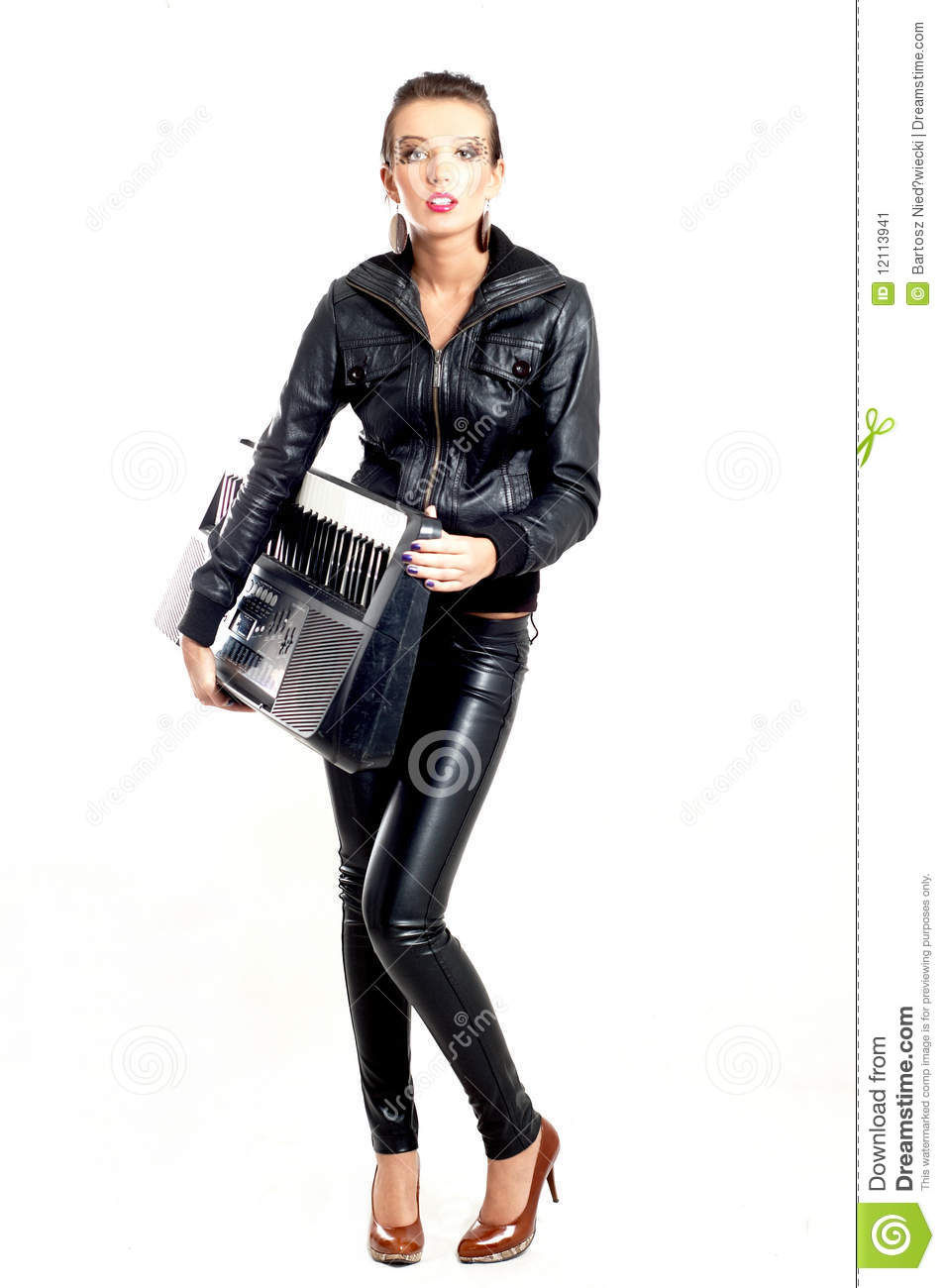 Punk Rock Fashion Girl With A Piano Stock Image Image 12113941