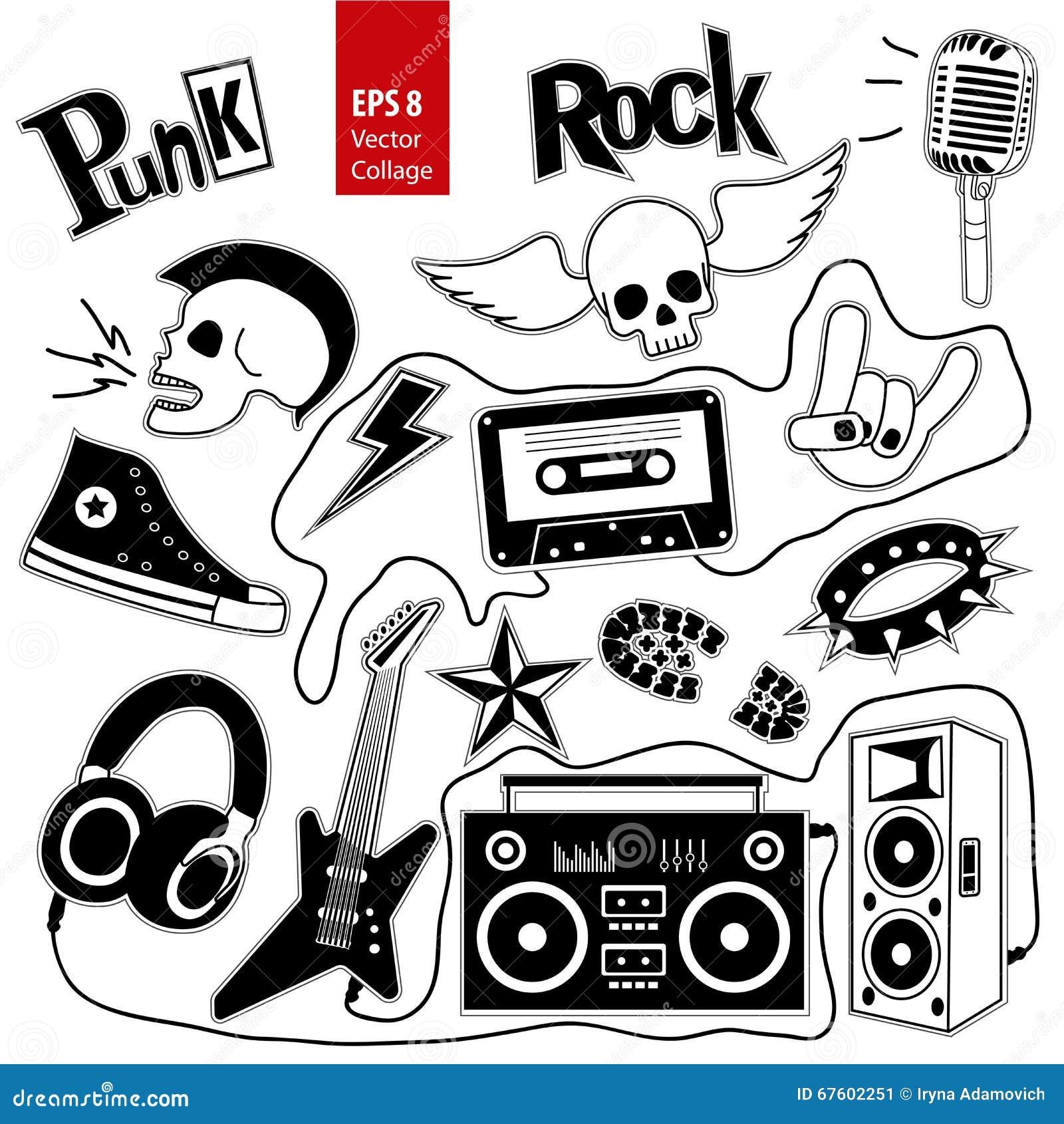 Punk Rock Music Vector Set On White Background  Design