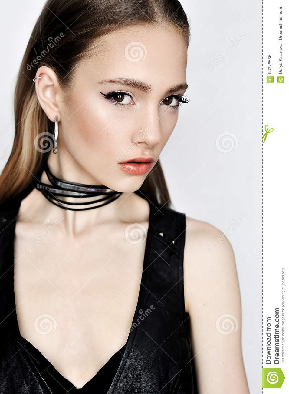 Punk Rock Style. Fashion Woman Model Face With Glamour Makeup. Stock Photo - Image 83228566