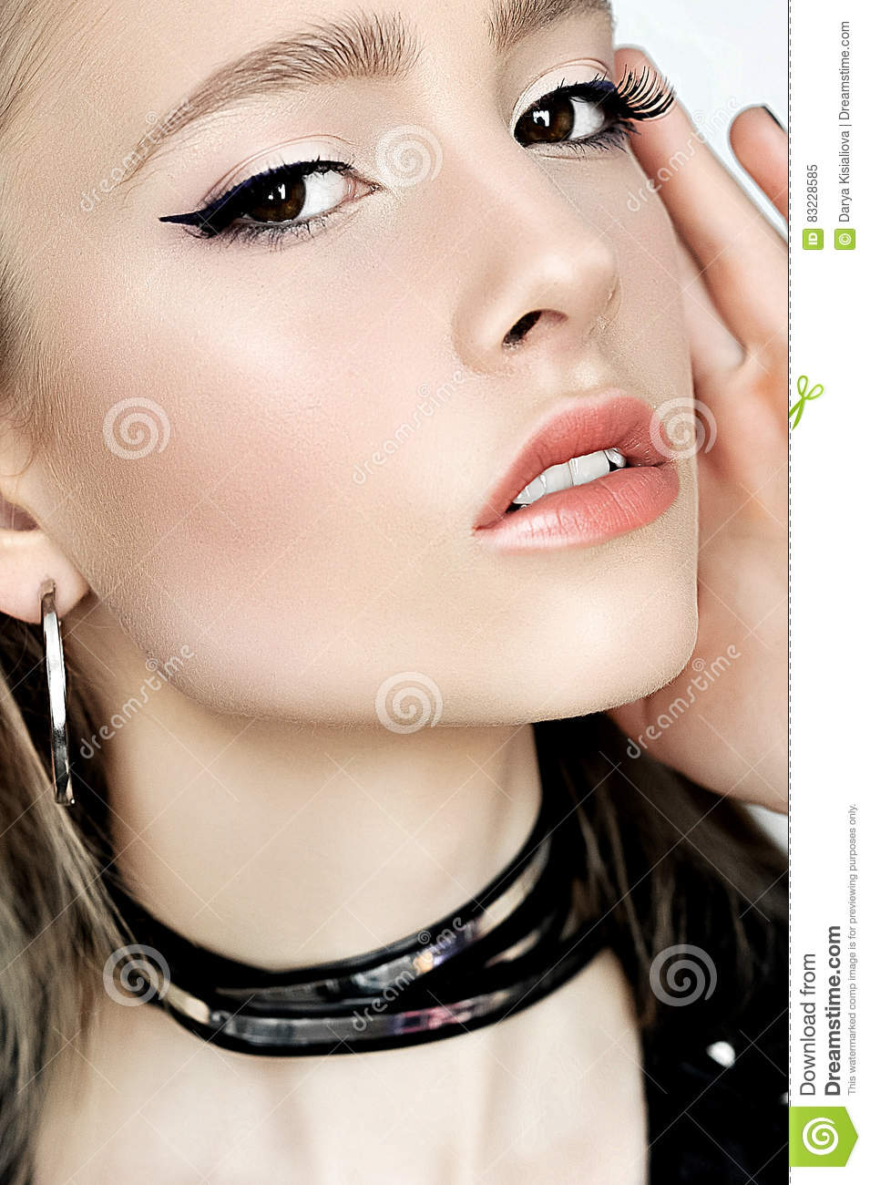Makeup Punk Hairstyle Close Up Portrait Of Rock Girl