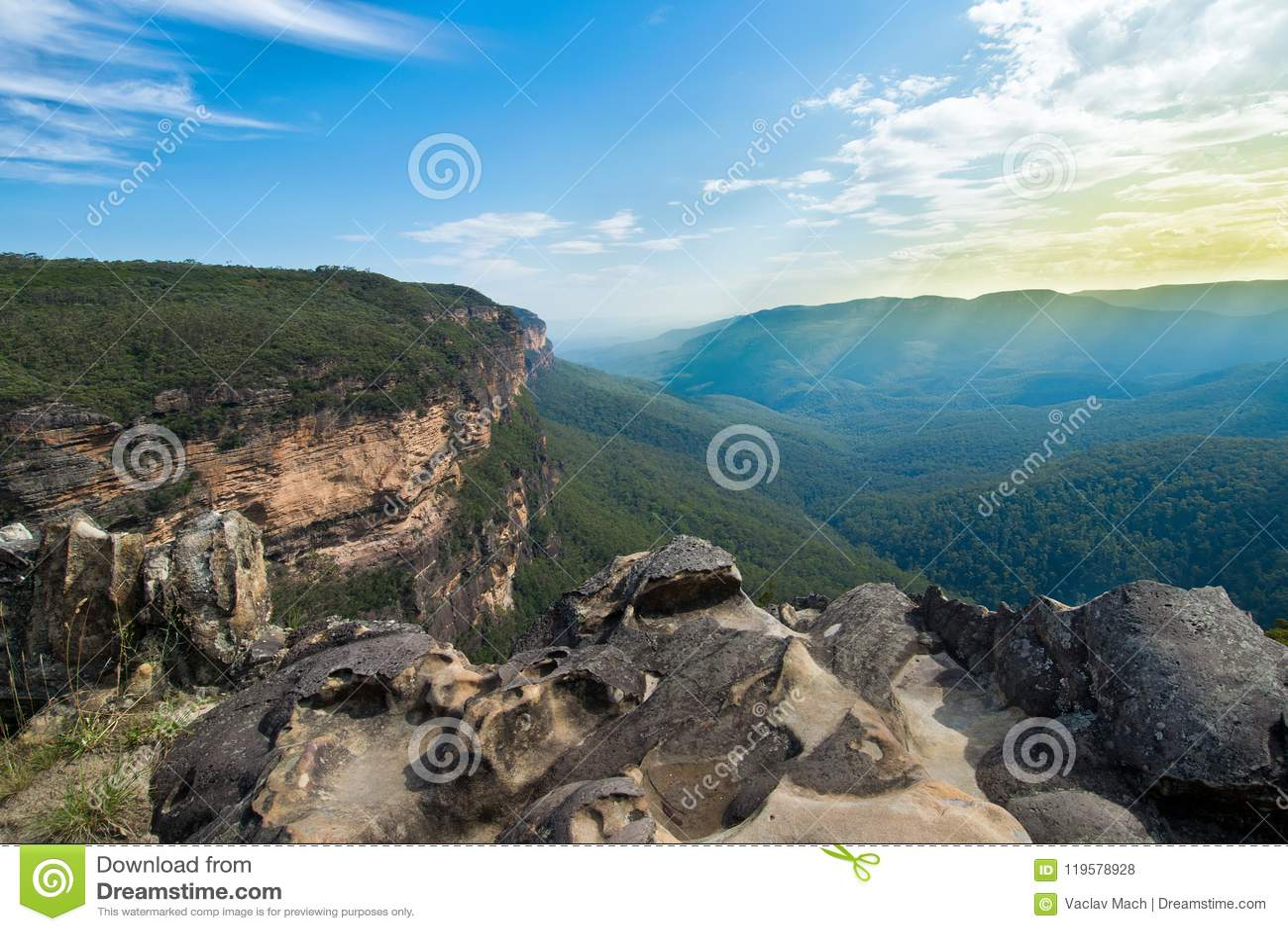 Punkt obserwacyjny nad Jamison doliną niebieskie góry