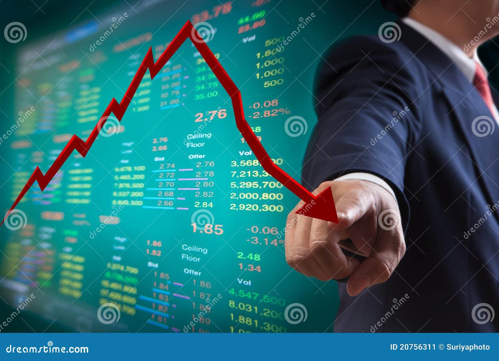 Punkt zu fallendem Diagramm der Börse