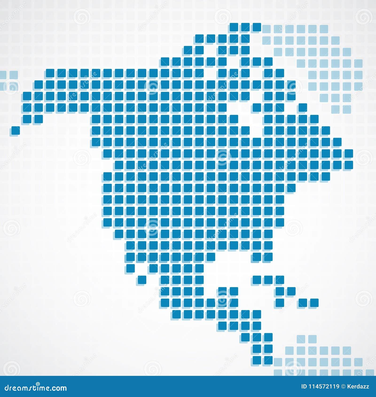 Karte Nordamerikas.Punktierte Karte Kontinent Nordamerikas Blau Vektor Abbildung