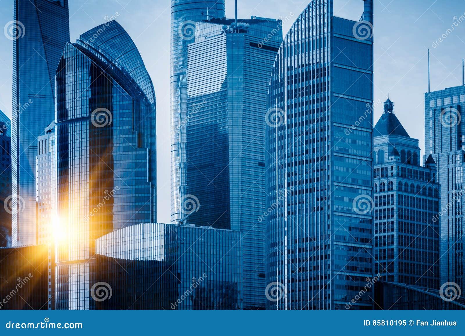 Punkty zwrotni Szanghaj, grupa nowożytni biznesowi budynki