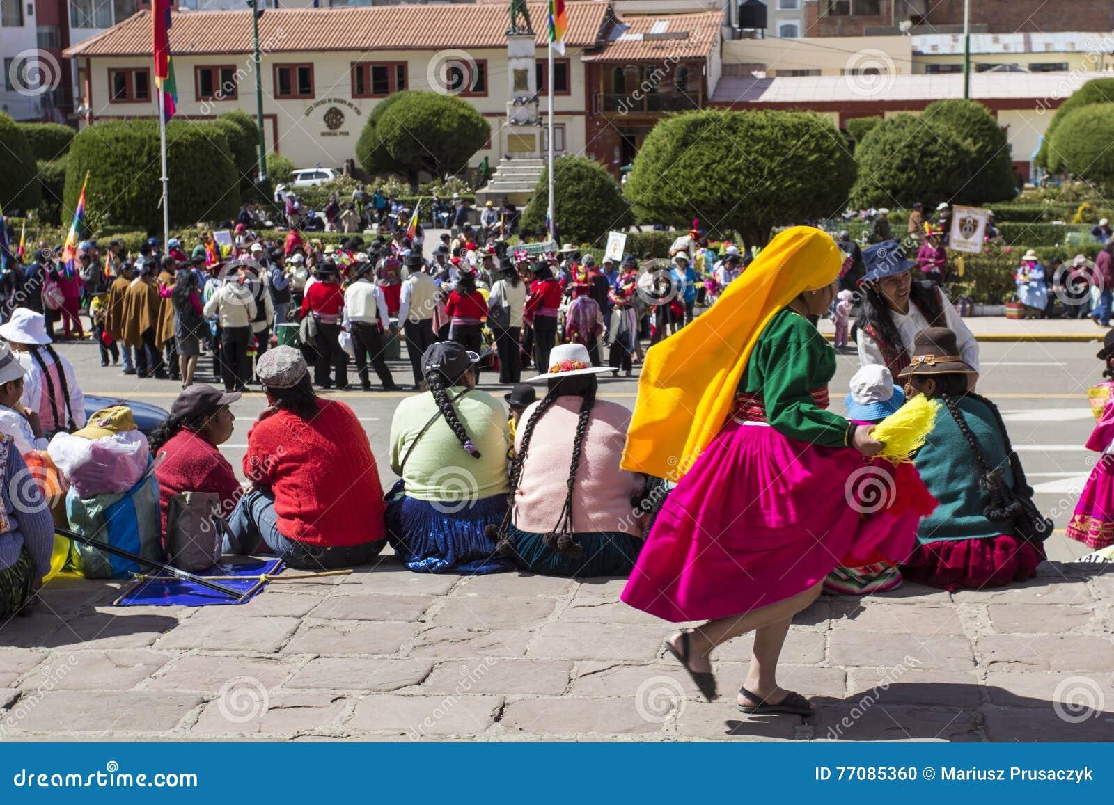 Puno, Peru - August 20, 2016: Native People From Peruvian ...