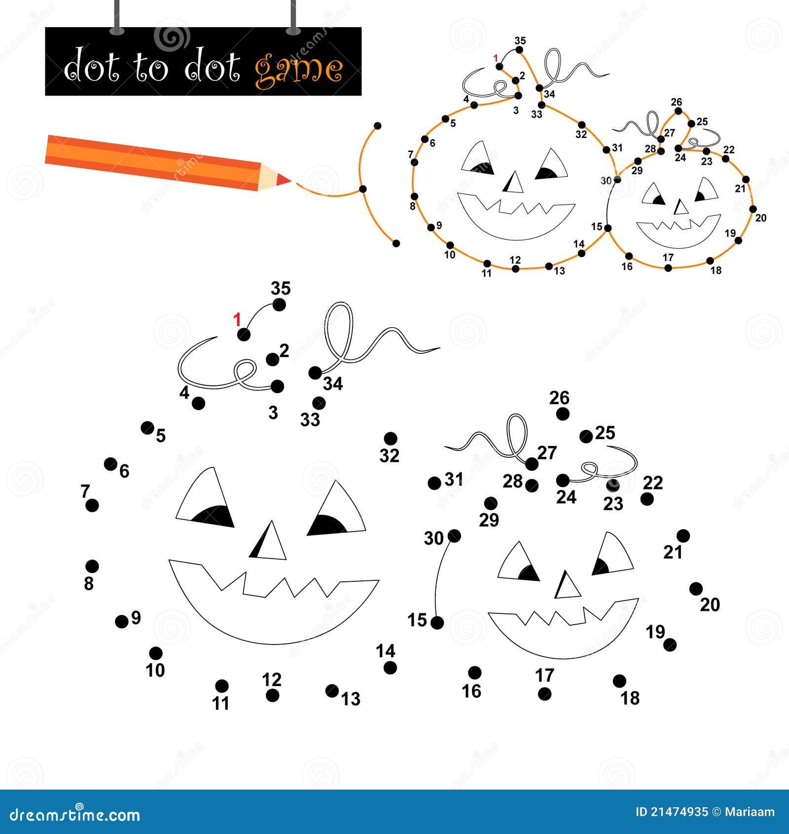Punt Om Spel Te Stippelen Halloween Pompoenen Vector