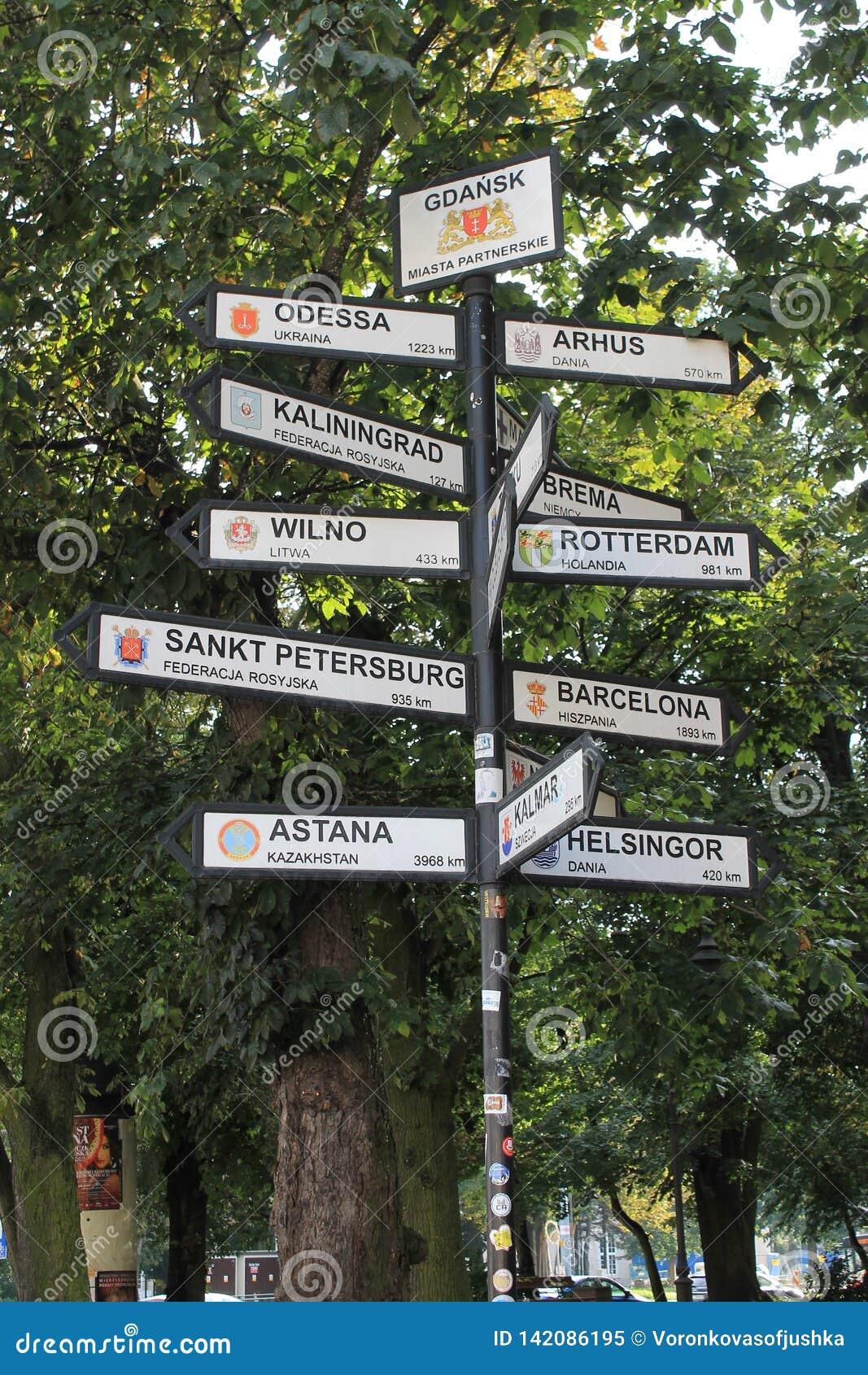 Puntatori alle città differenti del mondo a Danzica Polonia