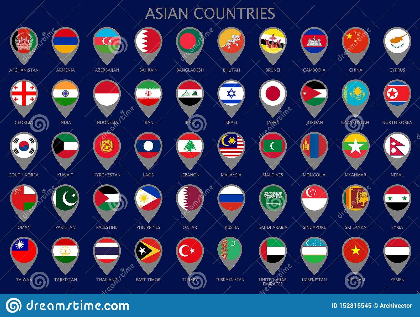 Puntatori della mappa con tutte le bandiere dei paesi asiatici