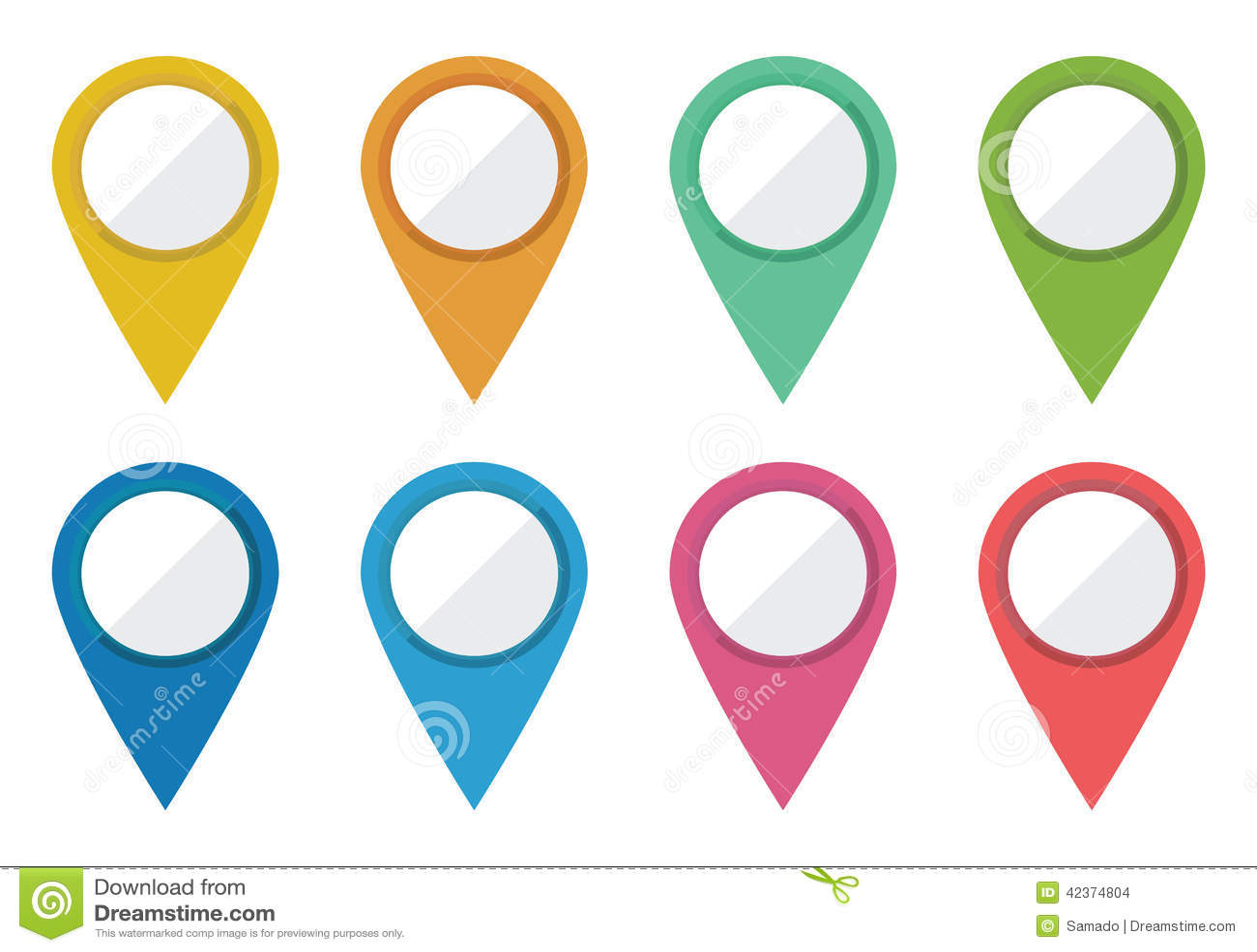 Mapa Plano Con Pin Icono De Puntero De La: Punteros De La Localización Ilustración Del Vector